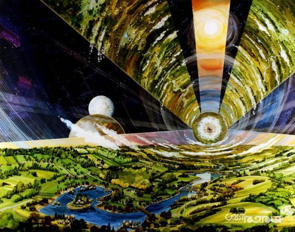 آثاری که تصورات هنری نیم قرن پیش ناسا از تشکیل کلونی در فضا را نشان می دهد